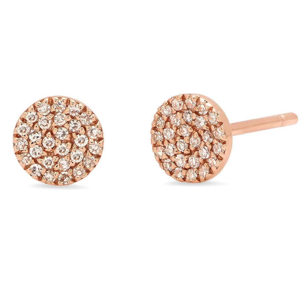 5.5mm Pave Diamond Coin Stud Earrings