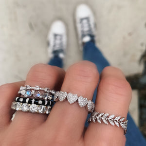 5 Gemstone and Diamond Princess Stacking Ring