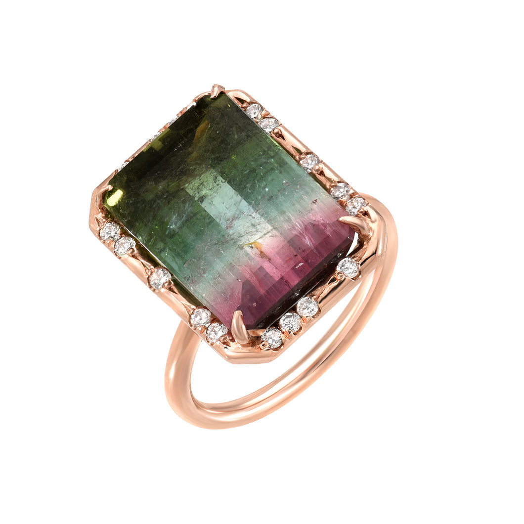One of a Kind Emerald Cut Watermelon Tourmaline Ring