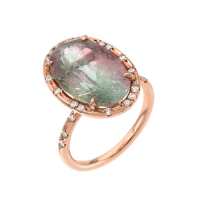 One of a Kind Oval Watermelon Tourmaline Ring