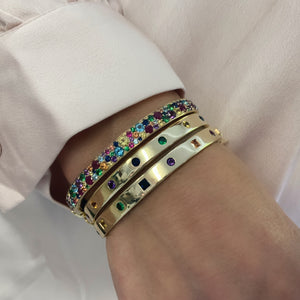 Multi Colored Rainbow Cluster Bangle