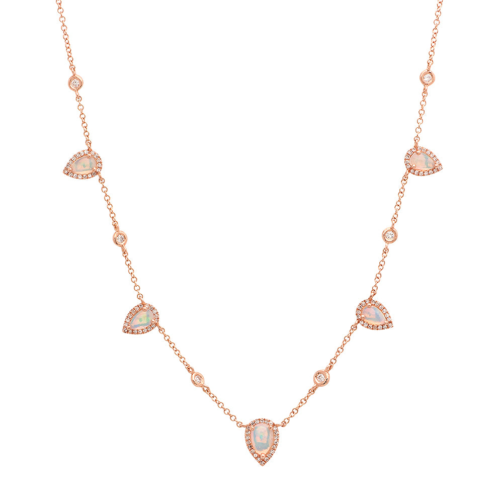Opal Teardrops With Bezel Set Diamonds Necklace