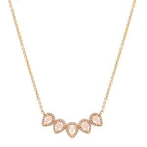 Moonstone & Diamond Petite Petals Necklace