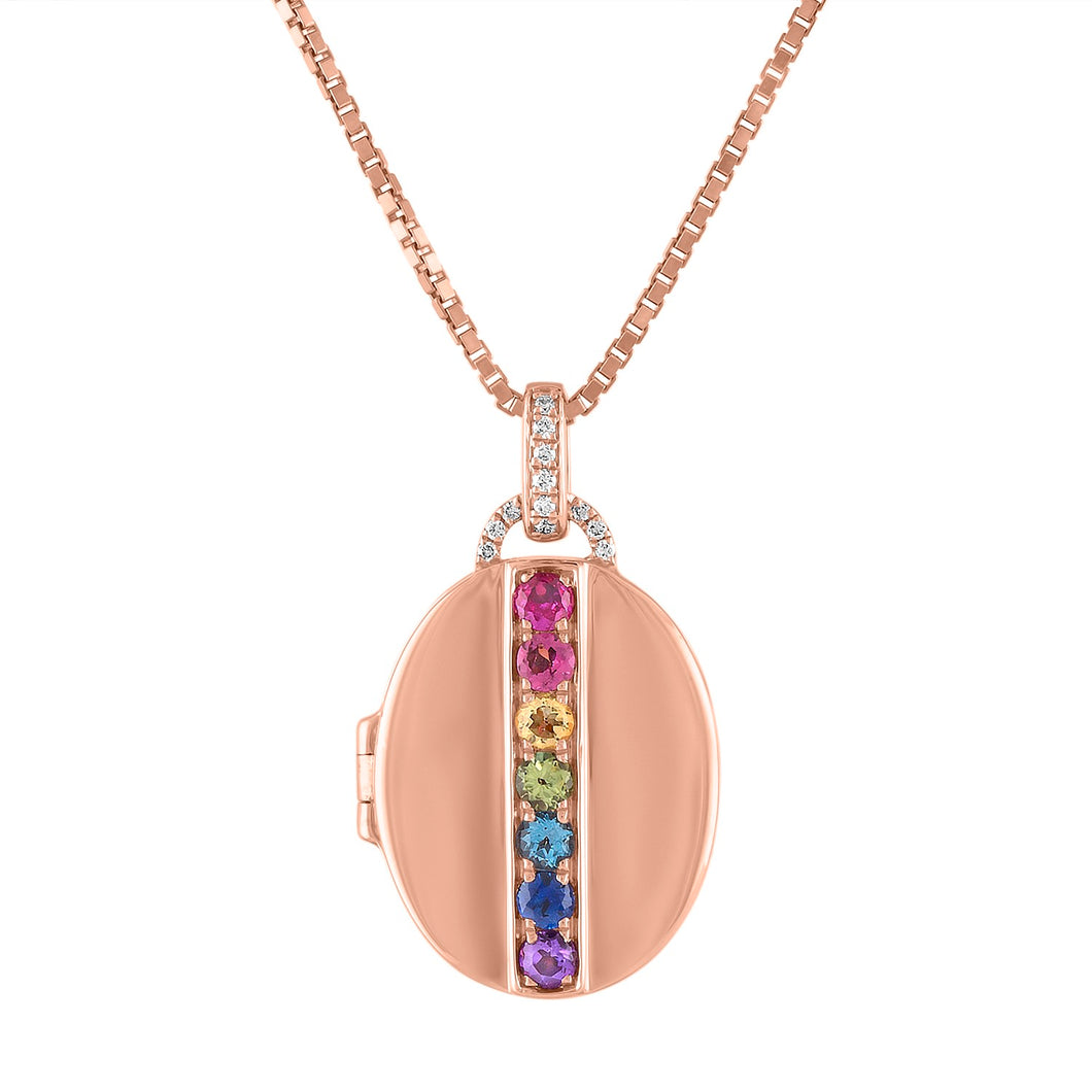 Simone Oval Rainbow Gemstones Locket