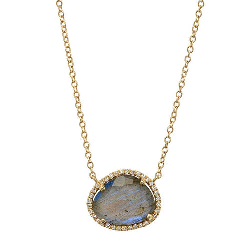 Illustrious Labradorite With Diamond Halo Necklace