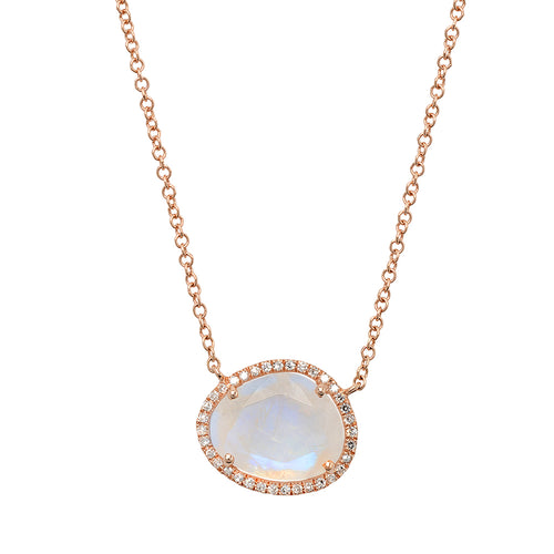 Magic Moonstone With Diamond Halo Necklace