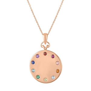 Minerva Rainbow Initial Disc Pendant Necklace