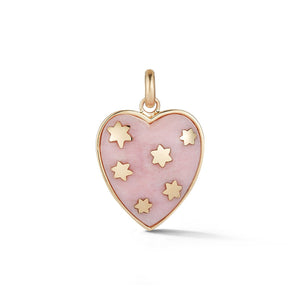 Stone Heart with 14k Stars Pendant