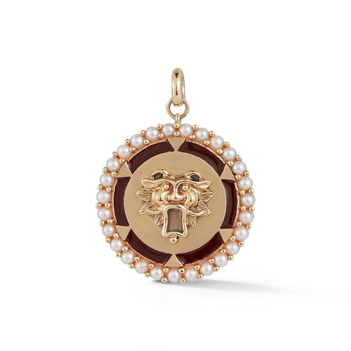 Pearl Guardian Lion Medallion Charm Pendant