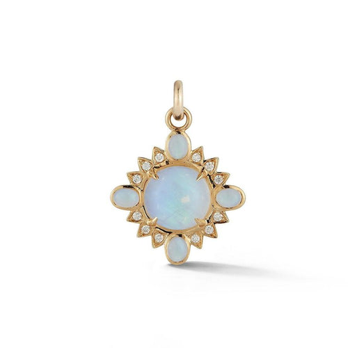 Mini Nora Rainbow Moonstone or Opal and Diamond Quatrefoil Pendant Charm