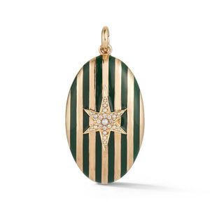 Striped Enamel Star Locket