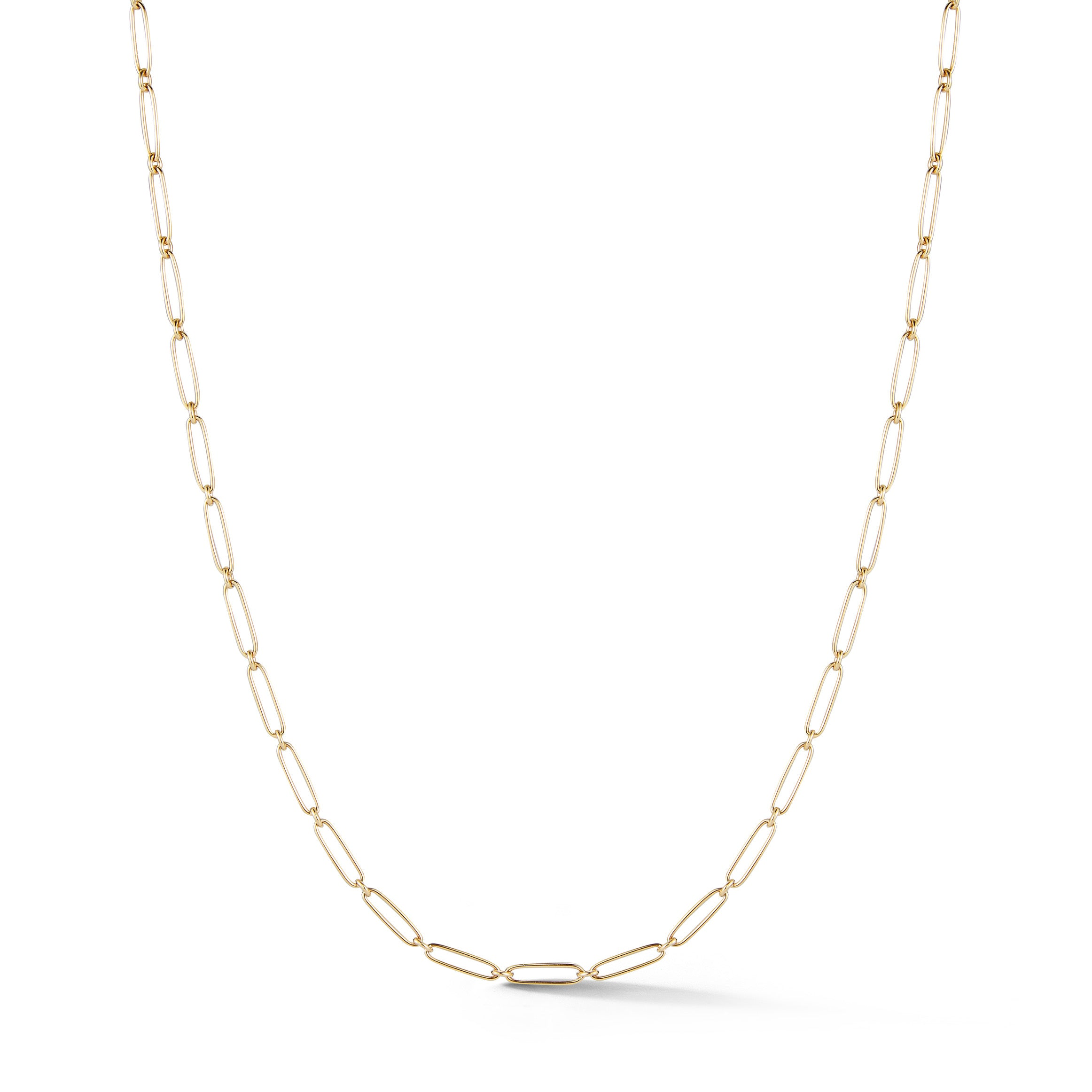 14K Gold Elongated Link Grover Chain