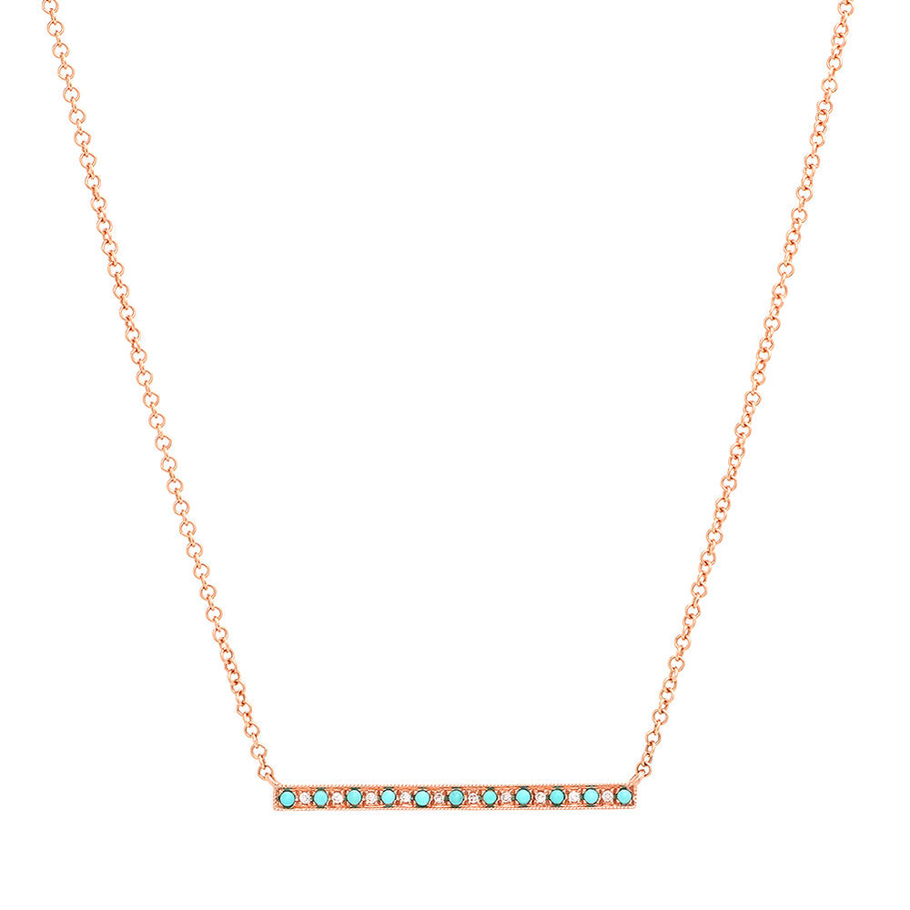 Diamond and Turquoise Bar Necklace