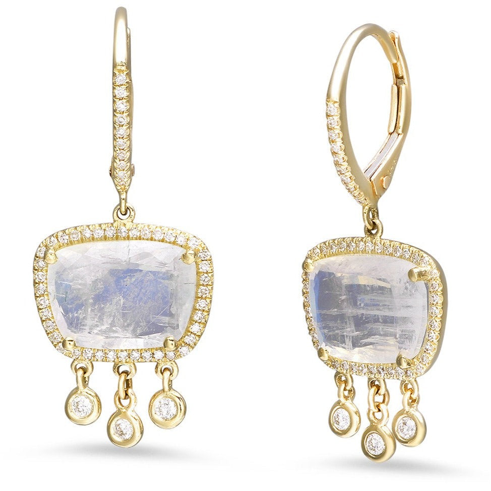 Oblong Moonstone with Diamond Bezel Drops Earrings