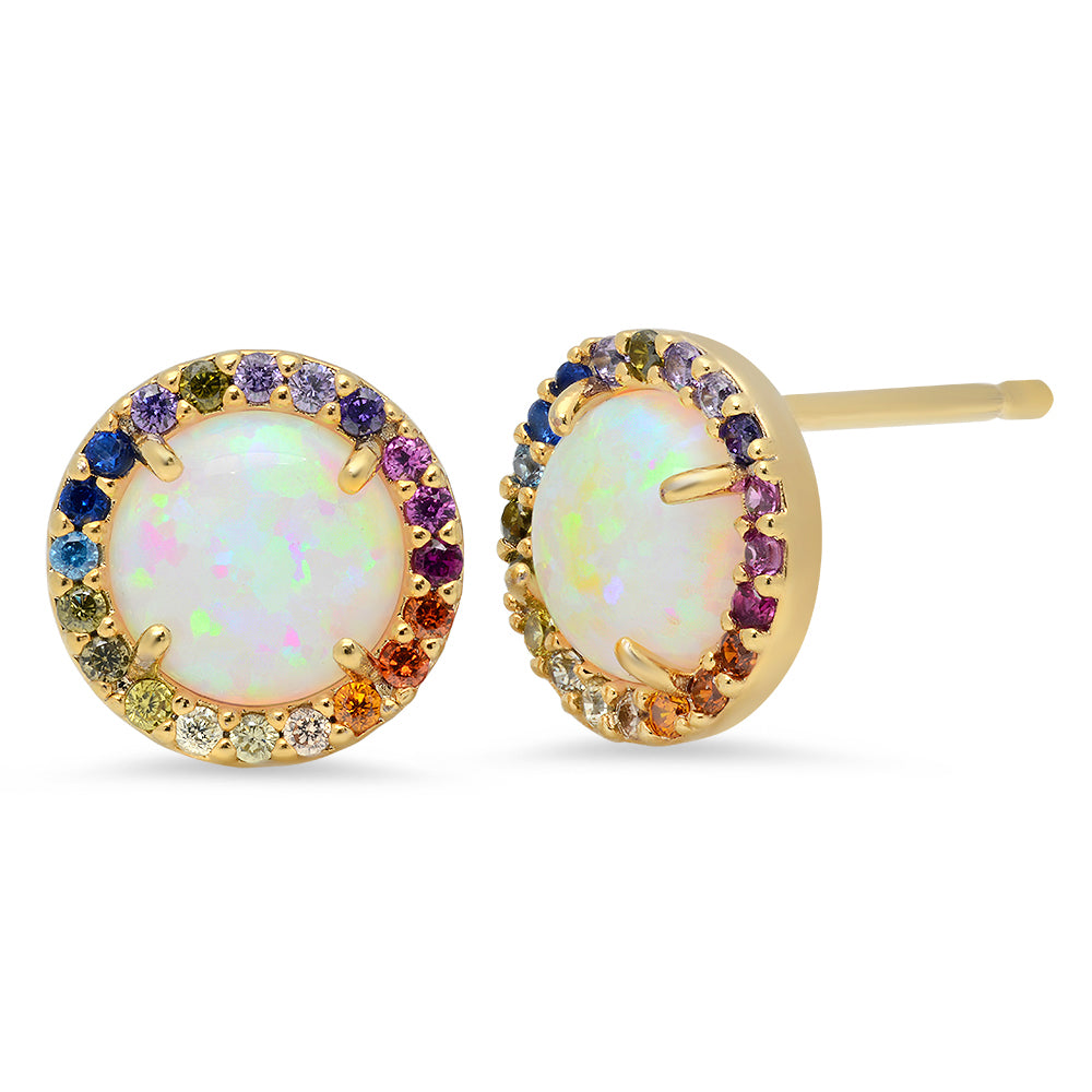 Rainbow Sparkle Stud Earrings