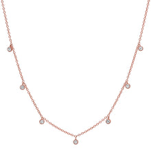 7 Millgrain Detail Bezel Diamond Droplets Necklace