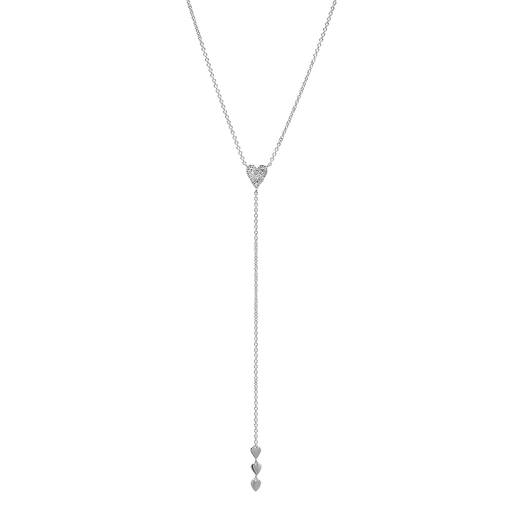 Diamond Heart Lariat Necklace
