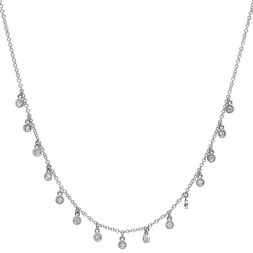 15 Millgrain Bezel Diamond Droplets Necklace