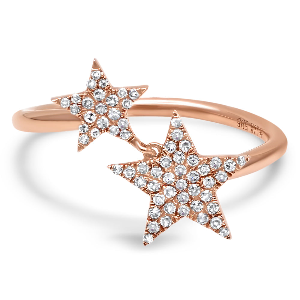 Diamond Twin Stars Ring