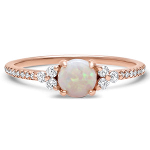 Dazzling Opal with Diamond Triad Detail Ring