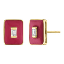 Marissa Diamond Baguette Enamel Rectangle Stud Earrings