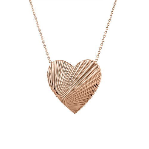 The Lexi Large Fluted Heart Pendant Necklace