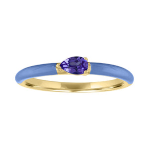 The Quinn Pear Shaped Semi Precious Stone with Enamel Band Ring