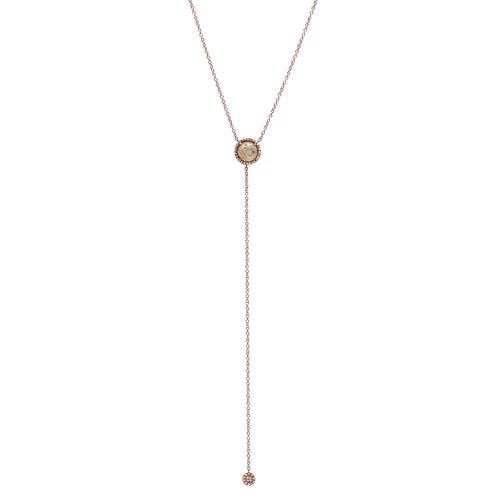 Rose Cut Labradorite Lariat Necklace with Dangling Pave Disc