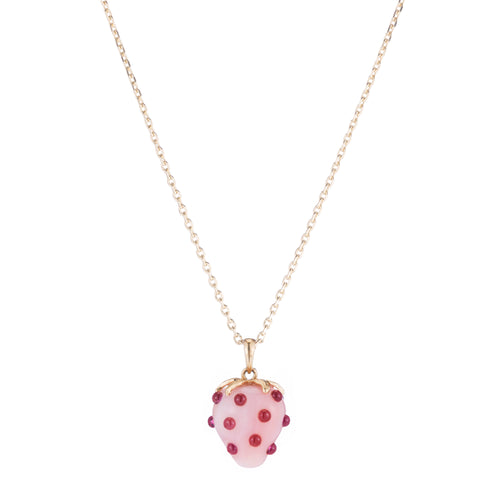 Strawberry Opal Pendant Necklace