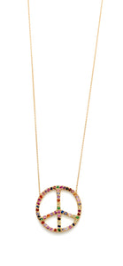 Large Multicolor Peace Sign Necklace