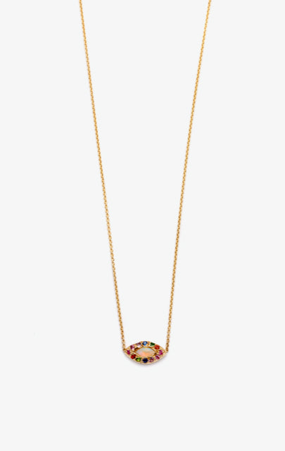 Opal Multicolor Marquis Eye Necklace