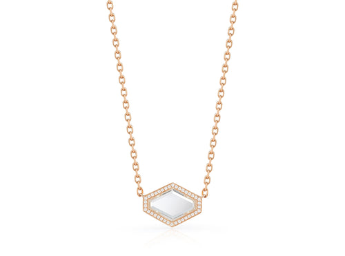Bell Rock Crystal and Diamond Hexagon Necklace