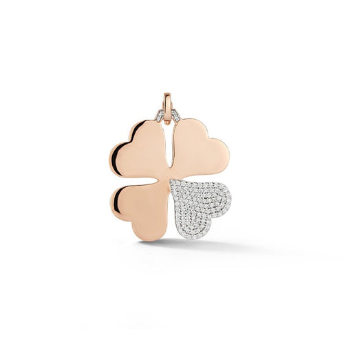 Dora Four Leaf Clover Charm with Diamond Petal