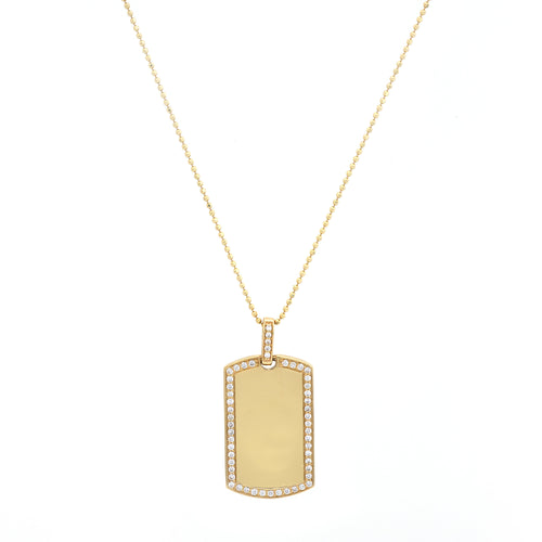 Levi Large Engravable Diamond Tag Necklace