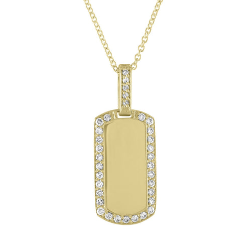 Isla Engravable Diamond Tag Necklace