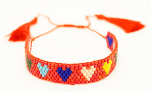 Multicolored Happy Hearts Beaded Friendship Bracelet