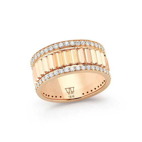 Clive 18k Rose Gold 10mm Fluted Band