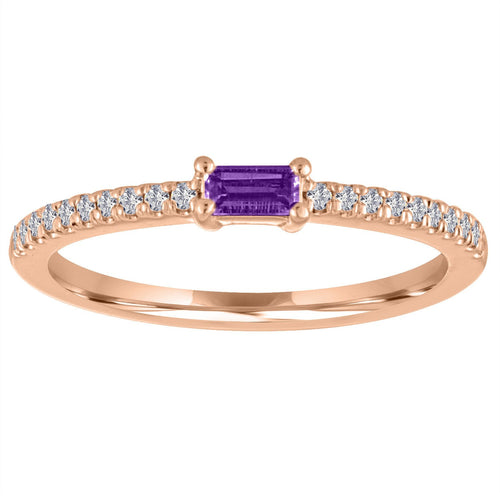 The Julia Birthstone Single Baguette Ring in AMETHYST