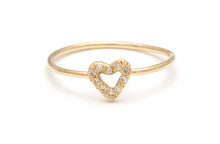 Diamond Tiny Open Heart Ring