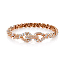 Full Pave Diamond Rope Bracelet with Triple Link Accent