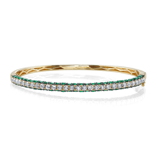 Diamond & Gemstone 3 Sided Bangle