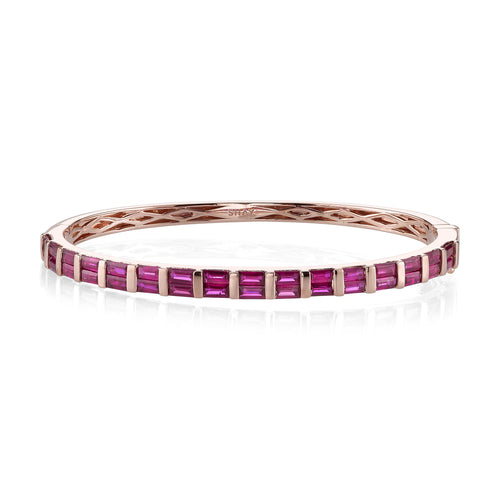Baguette Cut Gemstone Bangle