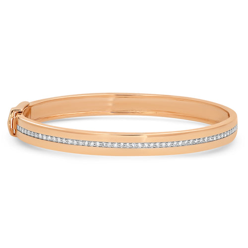 Gold Cuff Bracelet with Pave Diamond Row