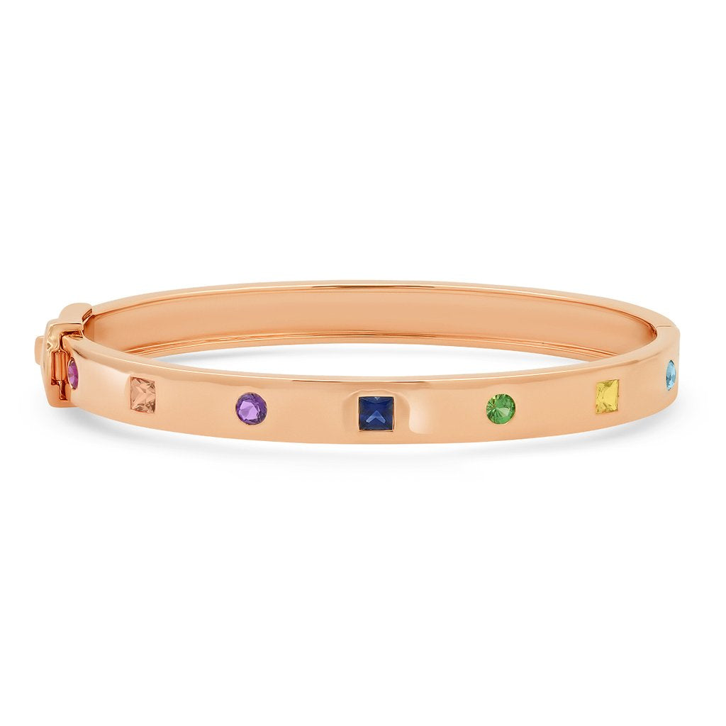 Multi Colored Princess Cut and Round Rainbow Bangle
