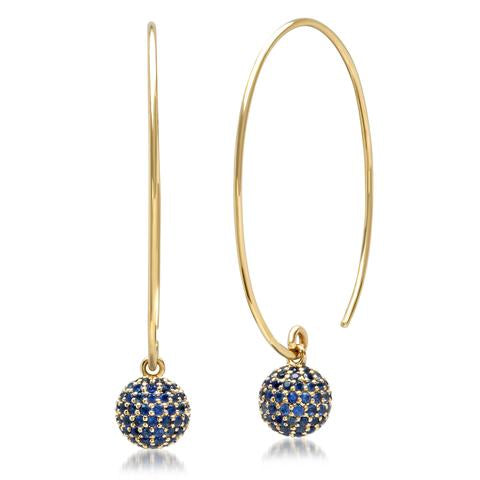 Blue Sapphire Disco Ball Earrings