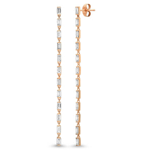 Diamond Baguette Link Earrings