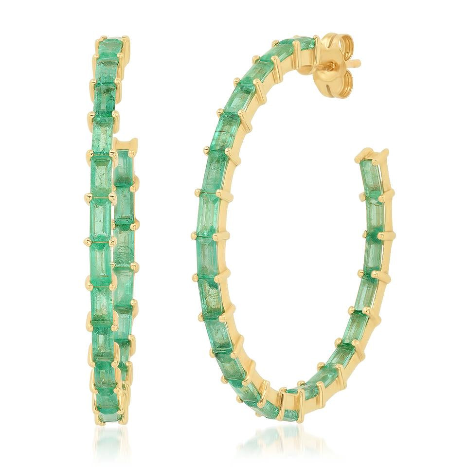 eriness emerald baguette hoop earrings