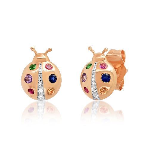 Multi Colored Ladybug Stud Earrings