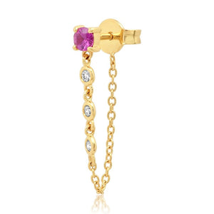 Single Semi-Precious Stone with Diamond Chain Wrap Stud Earring