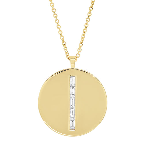 Diamond Baguette Circle Dog Tag Necklace